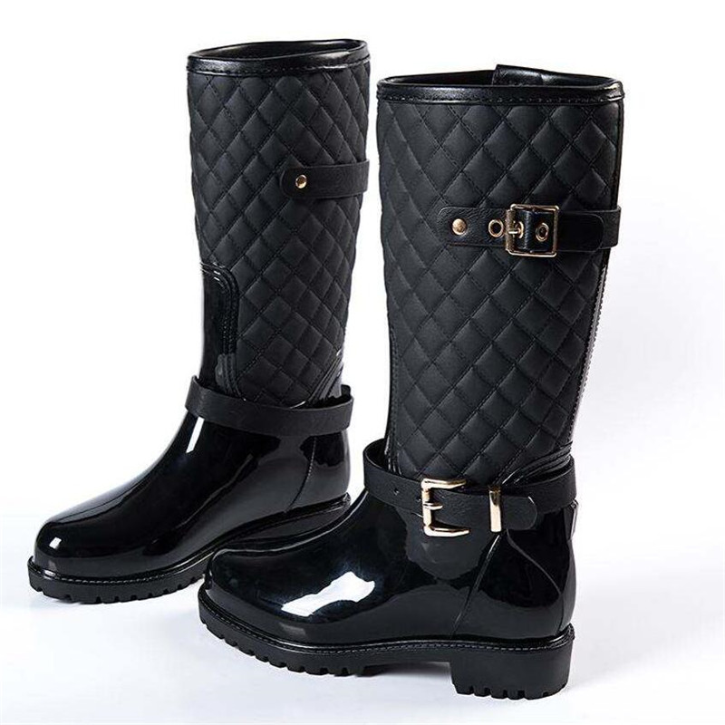 Ladys rainboots fashion quality new water rain shoes warm women's plaid fashion hunter lady rain boots in the rain boots black