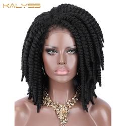 Kalyss Kurze Geflochtene Perücken für Schwarze Frauen Cornrow Zöpfe Spitze Perücken Synthetische Spitze Front Perücke Baby Haar Faux Loks Perücke seite Teil