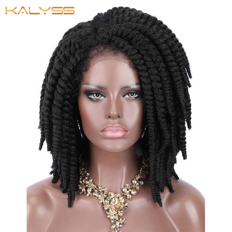 Kalyss Braided Wigs Short Cornrow Side-Part Baby-Hair Faux-Locs Lace-Front Black Synthetic title=