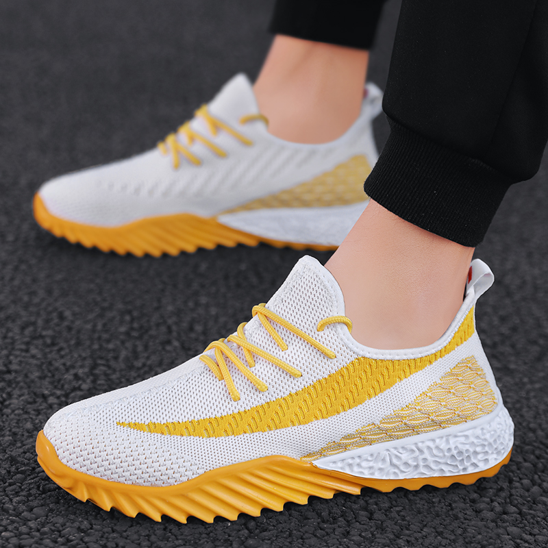 Running Shoes Summer Breathable Mens Mesh Sneakers Jogging Running Sport Shoes Basket Yellow Street Hip Hop Athletic Shoes