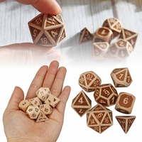 7pcs Set Embossed Wooden Polyhedral Dice D20 D12 D10 D8 D6 D4 for DND RPG MTG Role Playing Board Game