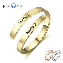 Spersonalizowany pierścień dostosuj grawerowane nazwy 3 kolory dostępne regulowane pierścienie dla kobiet biżuteria rocznicowa (JewelOra RI103498)