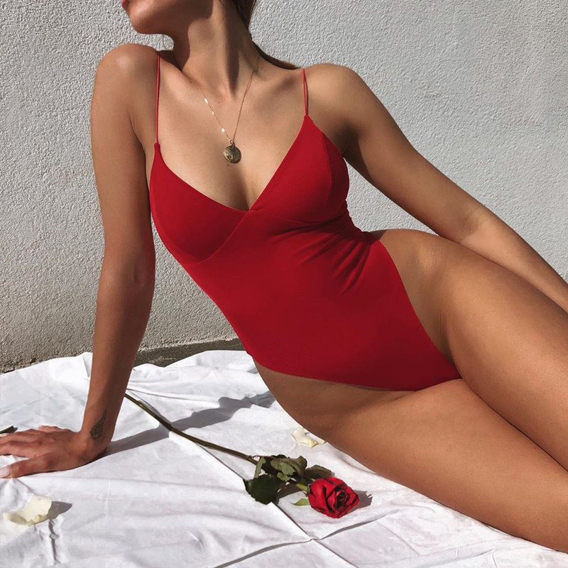Spaghetti Solid Padded Sexy Bodysuits Women Red V Neck Body Backless Sleeveless Club Body Suit Ladies Summer Bodysuits