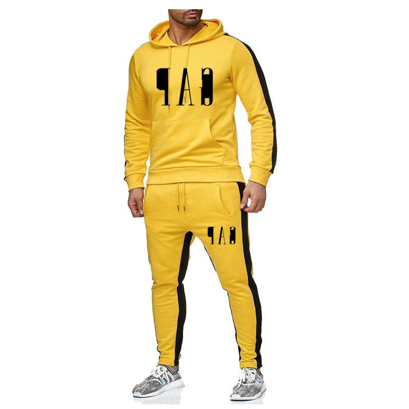 European And American Style 2-piece Men's Casual Sports Suit Warm And Plush Hoodie Fashion Fitness Suit