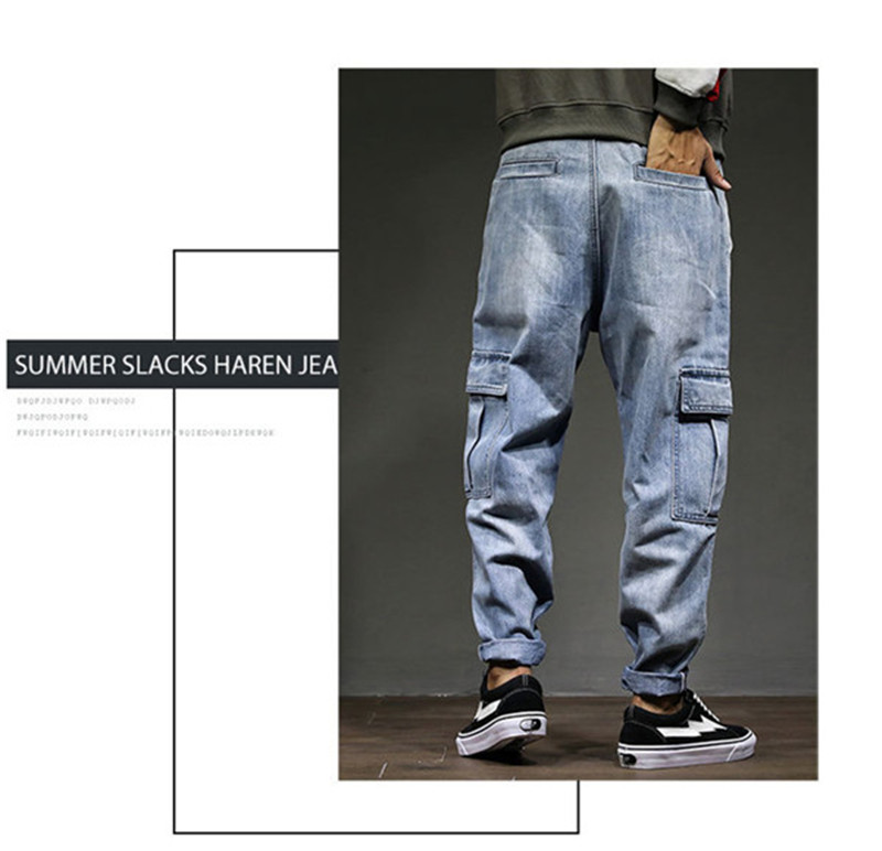 Men`s Casual Cargo Pants 2018 New Fashion Autumn Male Denim Jeans Pants Hip Hop Loose Embroidery Multi-pockets Trousers 28-42 (4)