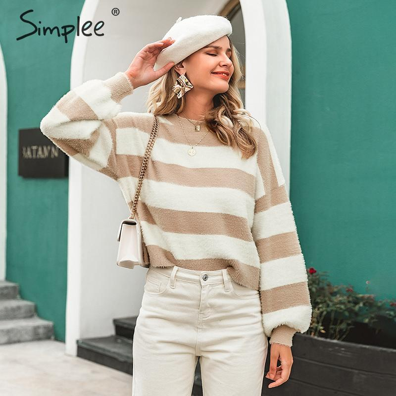 Simplee Striped Women Mohair Pullover Sweater Autumn Winter Long Sleeve Female Sweater Casual O-neck Soft Ladies Jumper Sweater