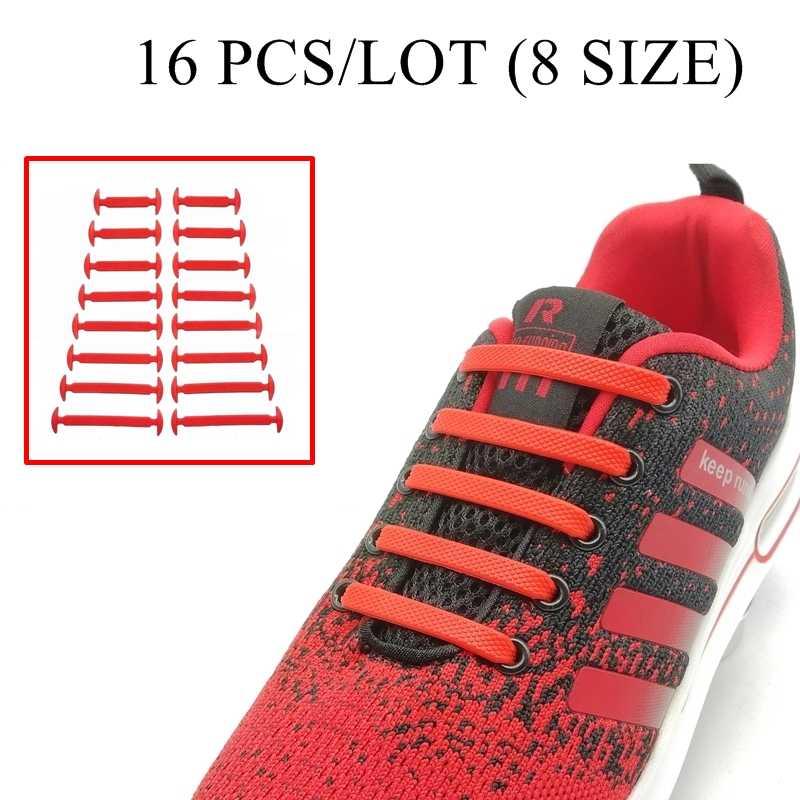 16 ชิ้น/เซ็ตทำงาน NO Tie Shoelaces แฟชั่น Unisex Elastic ซิลิโคนรองเท้ารองเท้าผ้าใบทุกสายคล้องพอดี N010