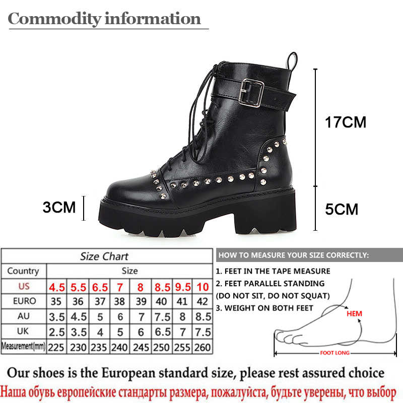 Gdgydh seksi perçin askeri bot kadın Lace Up siyah deri yarım çizmeler orta topuk Goth tarzı kısa çizmeler sonbahar için yüksek kaliteli