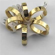 Moda na moda de aço inoxidável cor de ouro rosa anel de amor para mulheres homens casal cz anéis de cristal marca luxo jóias presente de casamento
