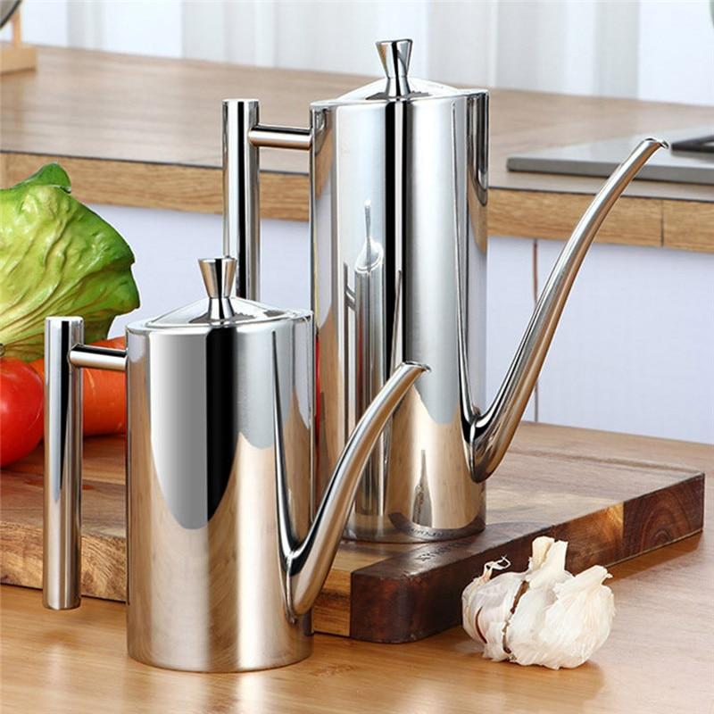 500 Stainless Steel Olive Oil Bottle Vinegar Dispenser Sauce Seasoning Batcher Can Pots Oil Container Kitchen Accessories