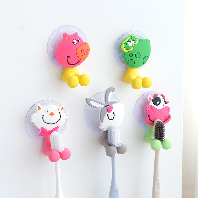 Child New 3D Cartoon Animal Cute Sucker Toothbrush Storage Holder Suction Cup Bathroom Wall Holder image
