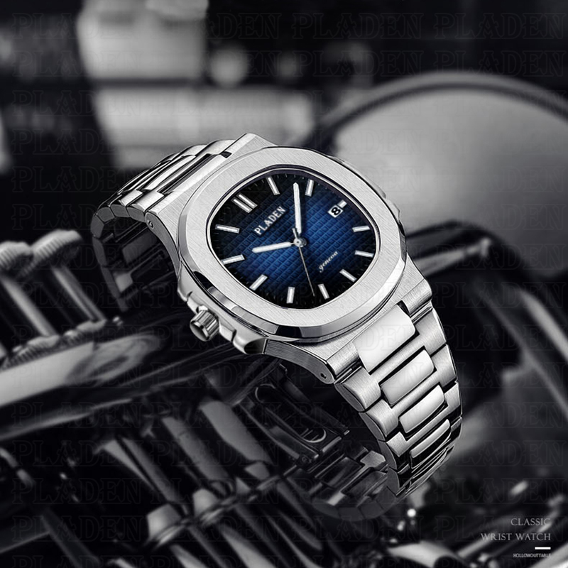 Hot PLADEN Luxury Brand Wristwatch Mens Watches Quartz Watch With Stainless Steel Strap Blue Dial Breit Diving Male Wrist Watch