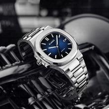 חם PLADEN יוקרה מותג שעוני יד Mens שעונים קוורץ שעון עם נירוסטה רצועת כחול חיוג רייט צלילה זכר שעון יד