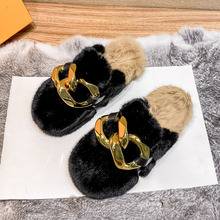 Gold Chian Fur Slippers Women Real Fox Fur Slides Home Furry Flat Sandals Female Cute Fluffy House Shoes Woman Brand Luxury 2021