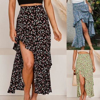 2020 Fashion Floral Print Skirt Women Summer Sexy Vintage High Waist Ruffles Casual Split Asymmetrical Midi Skirt Mujer D30 цена 2017