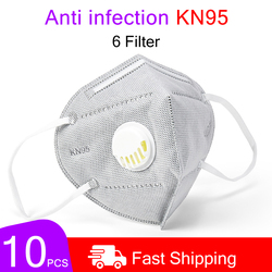 10PCS Reusable Mask Face Mouth Anti Dust Mask N95 Filter 6 Layers FFP3 Antivirus Flu Adult Mask Particulate Respirator PM2.5 1