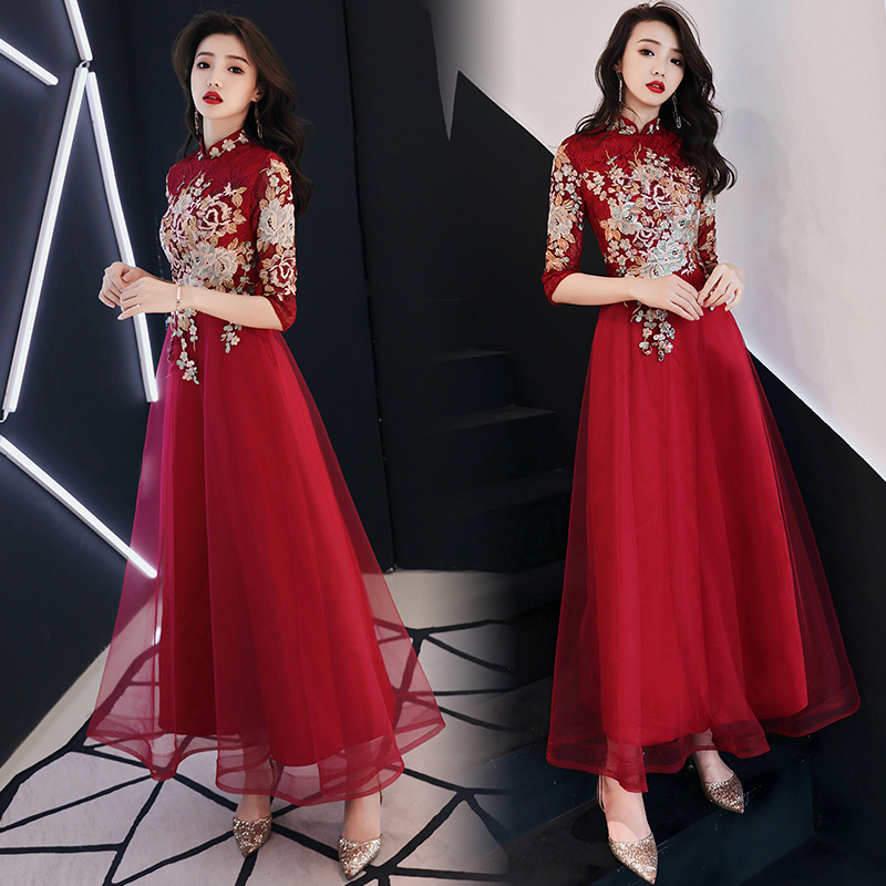 Dress For Toast 2019 New Style Bride Marriage Autumn And Winter Wine Long Chinese Style Evening Gown Slimming Dress Back Door