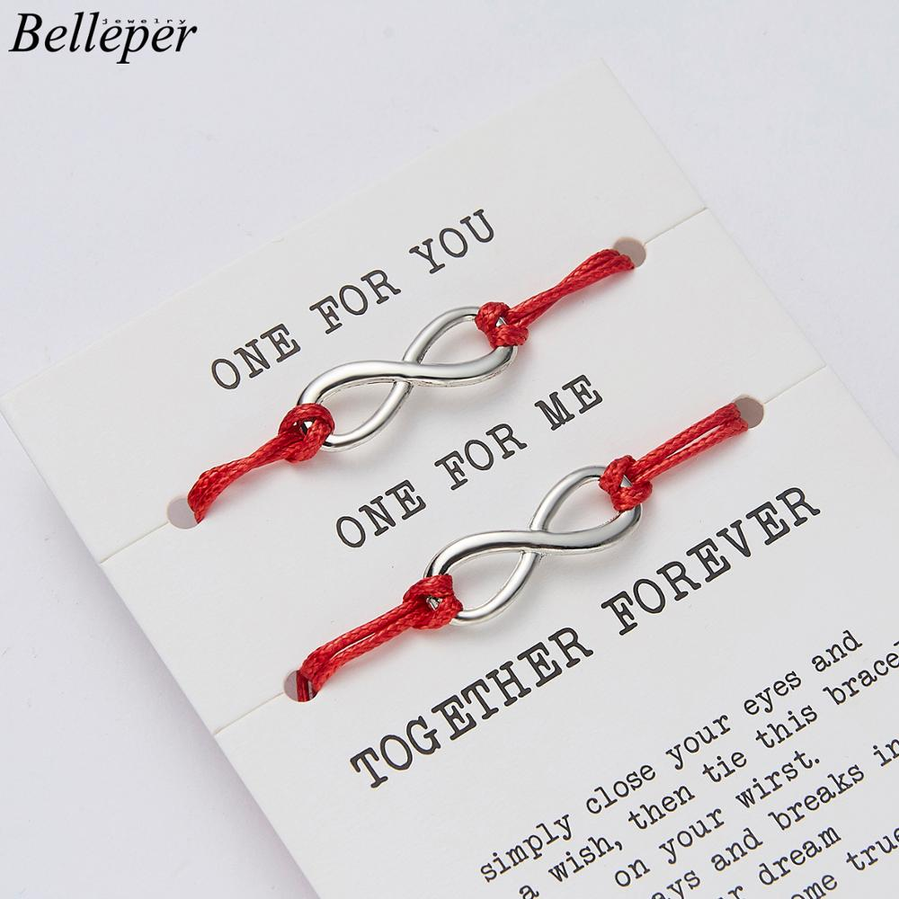 Black Red String Best Friends Couple Bracelets Together Forever Love Infinity Bracelet For Lovers Wedding Wish Jewelry Gift 2Pcs image