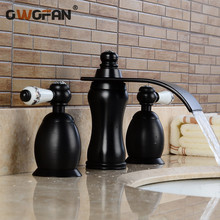 Basin Faucets Gold Bathroom Sink Crane 3 PCS / Hole Black Crystal Home Decoration Vanity 2 Switch Handle Washbasin Tap LH-16845 round bathroom stone resin pedestal washbasin cloakroom solid surface stone freestanding vanity sink w9006