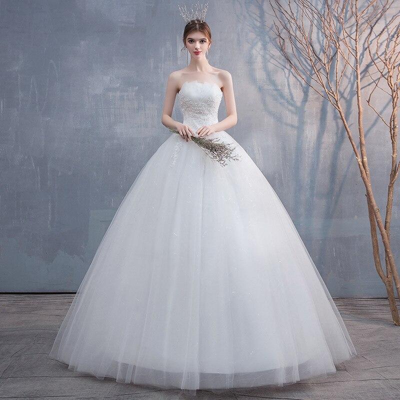 Feerijt 2020 New Sexy Strapless Sleeveless Cheap Simple Wedding Dress Classic Off White Lace Flower Lace Up Vestidos De Novia