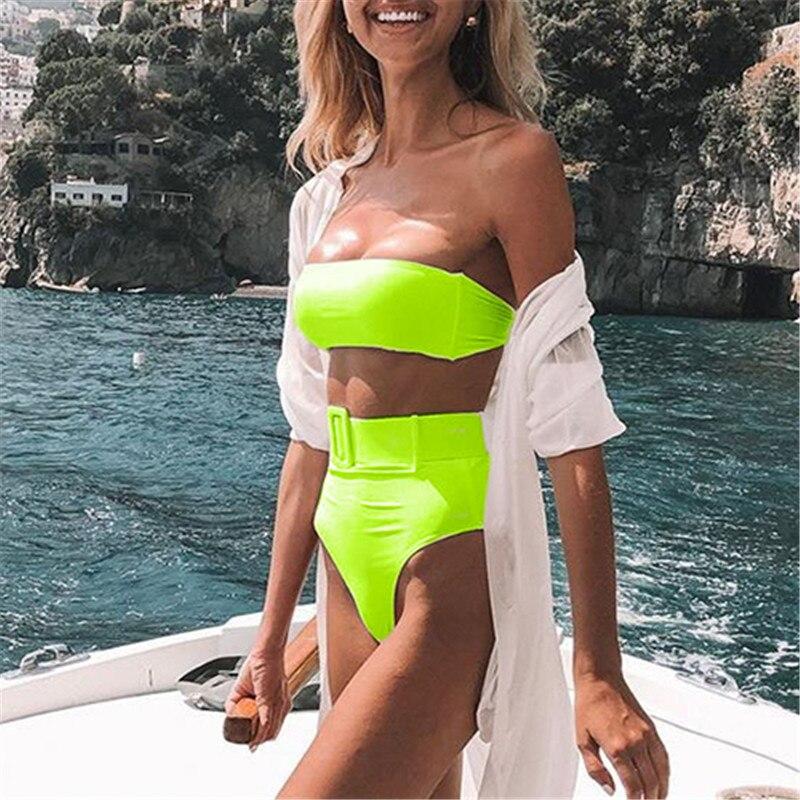 High waist Brazilian neon bikini 2020 Belt swimwear women Bandeau swimsuit female Push up bathing suit Summer bathers biquini 3