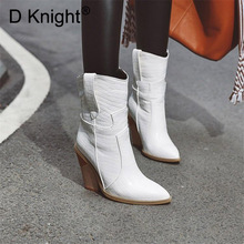 Plus Size 33-44 Women Boots Sexy Pointed Toe Ankle Motorcycle Boots Shoes For Woman Fashion Patent Leather High Wedge Heel Boots knsvvli new patchwork patent leather stretch boots woman squaer toe low heel martin boots strange style heel ankle boots women
