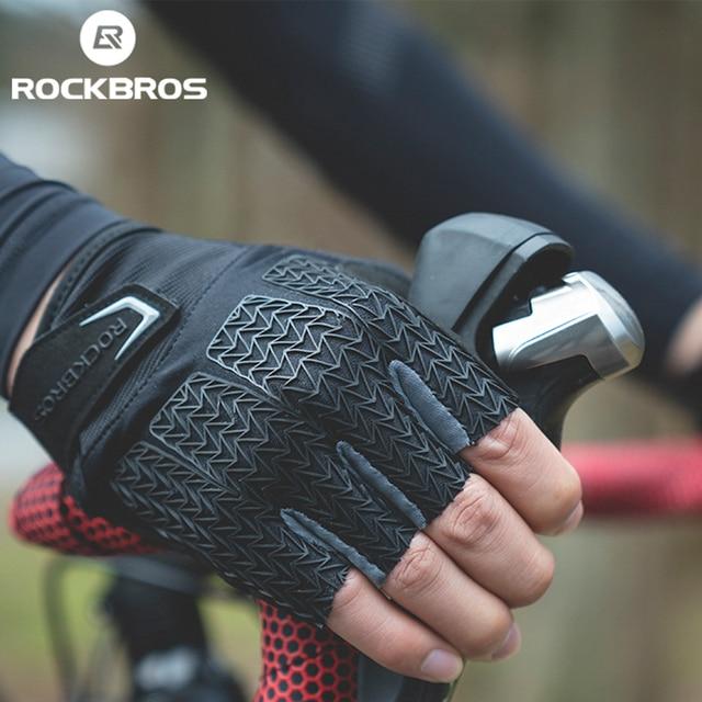 Rockbros tela sensível ao toque luvas de ciclismo da bicicleta primavera outono mtb bicicleta luvas gel almofada à prova choque metade dedo luvas 1