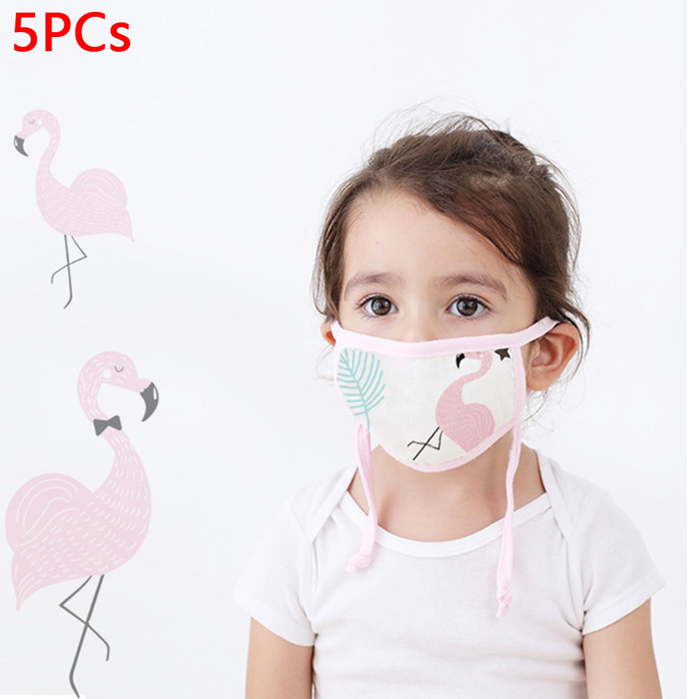 5PCS Cotton Mouth Mask Children Cartoon Animals Dustproof Anti Virus Face Mask Safe Breathable Print Kids Mouth Mask