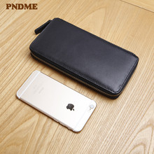 PNDME casual simple genuine leather men's clutch wallet business real cowhide women long section large capacity phone coin purse pndme vintage crazy horse cowhide men women long wallet simple casual genuine leather clutch bag coin purses id holders