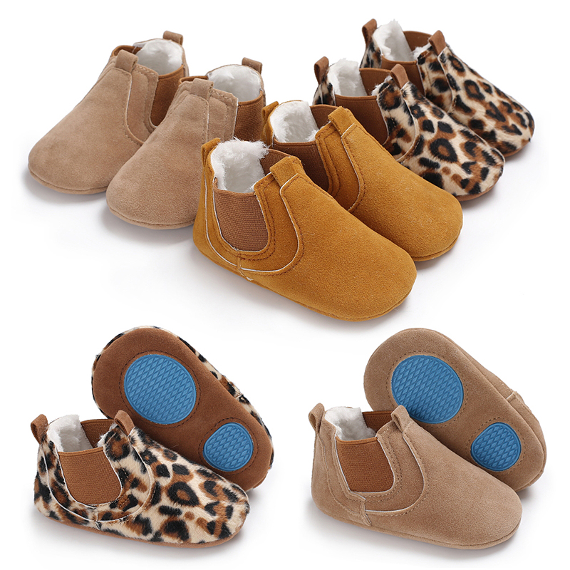 Autumn Baby Shoes Toddler Leopard PU Leather Shoes Plus Velvet Winter Boots For First Walkers