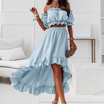 Summer woman's skirt sets solid strapless sexy elastic waistless ruffle short puff sleeve top skirt casual party two-piece suit 1