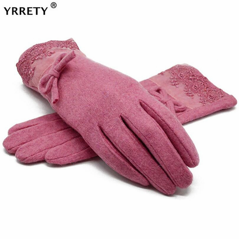 YRRETY Winter Fashion Warm Wool Cashmere Lace Gloves For Women Bow Decorations Female Full Finger Gloves Good Quality Mittens