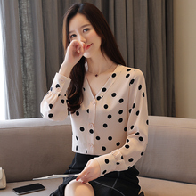 Women Tops V-neck Point Chiffon Blouse Shirts Female Autumn 2019 Spring New Long Sleeve Dot Blouses 937F6