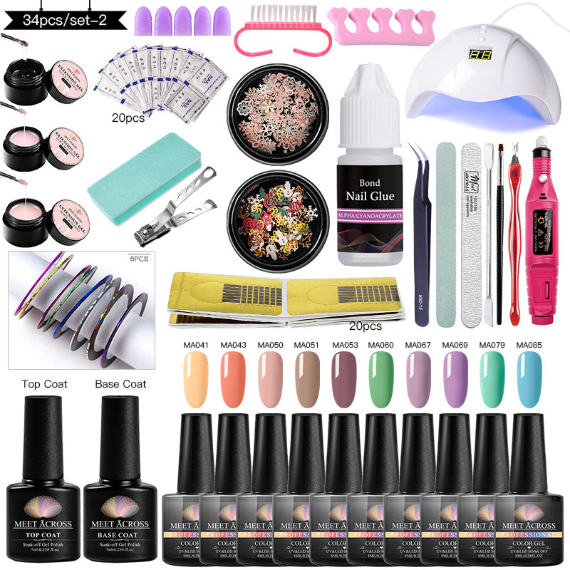 MEET ACROSS 34Pcs Nail Set UV LED Lamp With Pure Gel Nail Polish Finger Extension UV Gel Soak Off Gel Varnish Nail Art Set Tools
