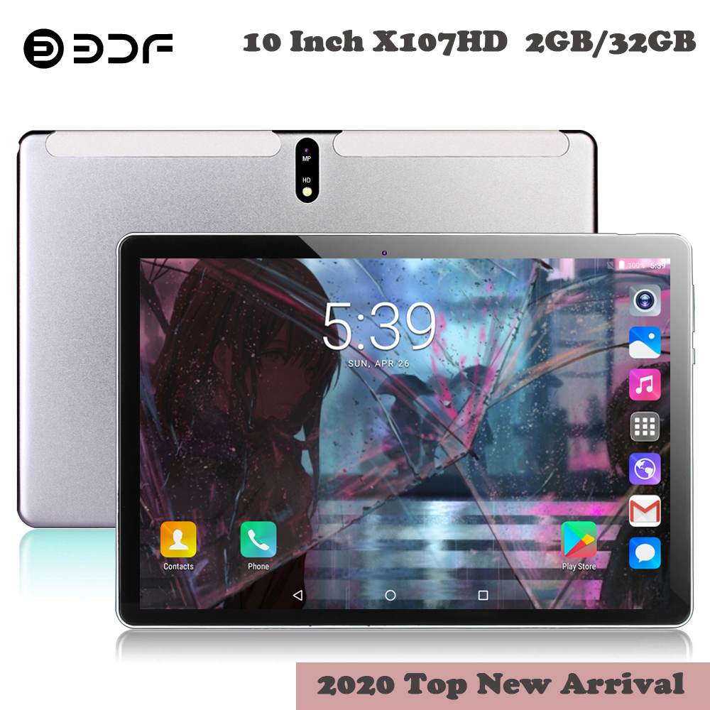 BDF Phablet 10.1 Inch Tablet 2.5D Screen Android 7.0 Quad Core RAM 2GB ROM 32GB Camera 5.0MP WiFi 3G Phone SIM Card 10 Tablet Pc