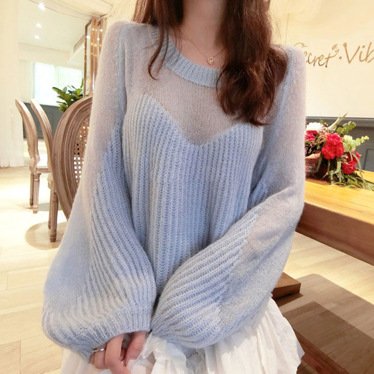 Autumn And Winter New Fairy Soft Waxy Sweater Gentle Feeling Full Of Lazy Wind Loose Thin Lantern Sleeve Sweater Women