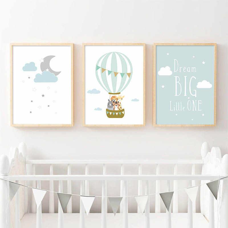 منطاد الحيوانات القمر الحضانة ملصق جدار الفن قماش طباعة حلم كبير يقتبس اللوحة الشمال طفل نوم الطفل الديكور الصورة