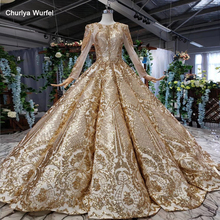 HTL527 luxury evening dress floor length o neck long sleeve shiny golden evening gown for muslim abito lungo cerimonia donna