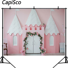 Capisco Pink Castle Backdrop Newborn Girl Portrait Photography Background Baby Shower Birthday Party Decor Banner Photo Booth