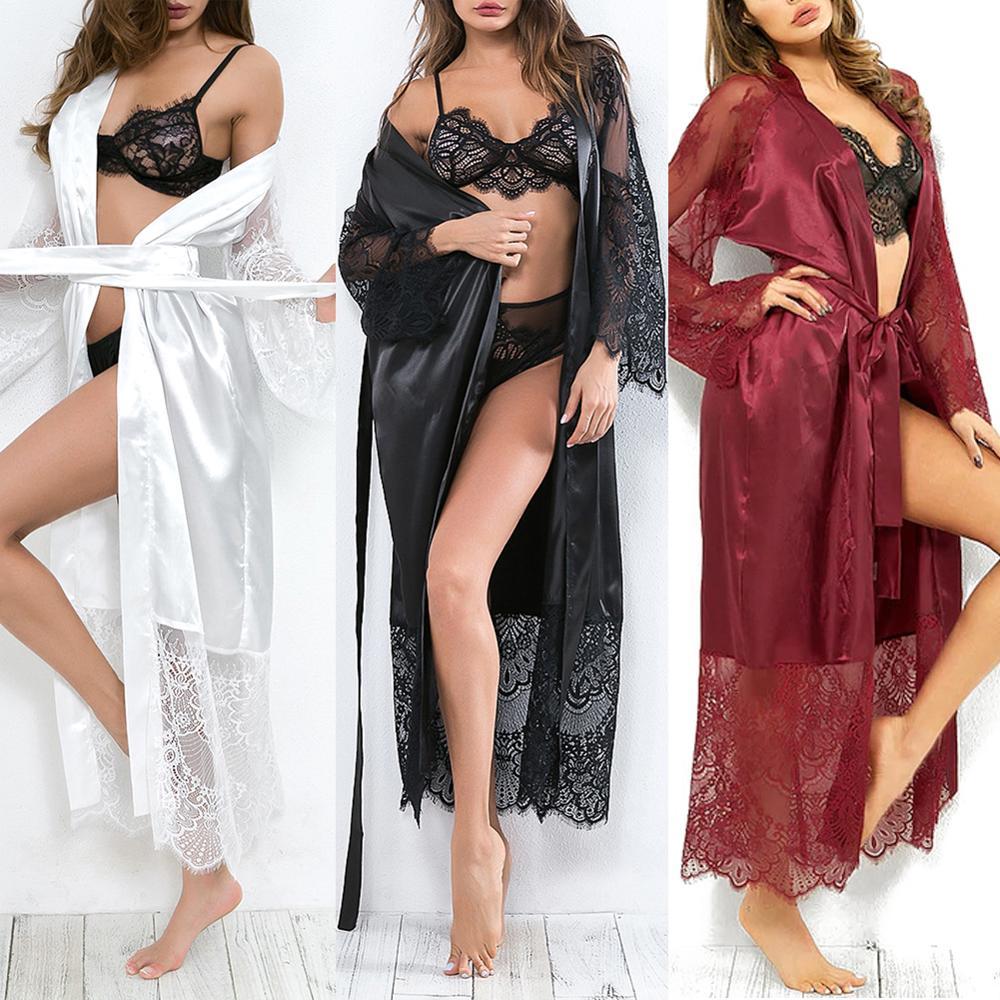 Sexy Satin Silk Women Lace Robe Lingerie Ladies Lace Bathrobe Nightwear Black White Long Sleepwear Plus Size Female Bathrobes