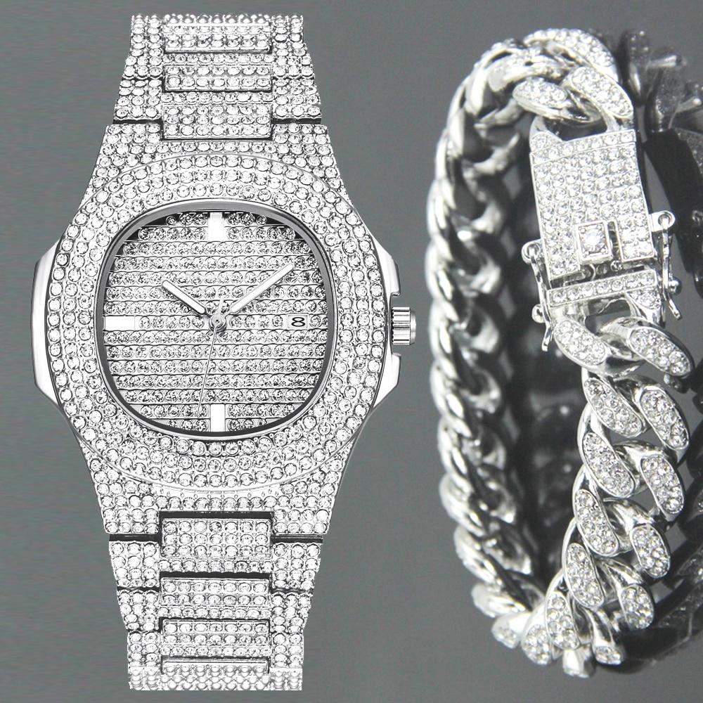 drop shipping new 2020 unisex watches diamond watch for men ice out womens quartz wristwatch bling bracelet (1)