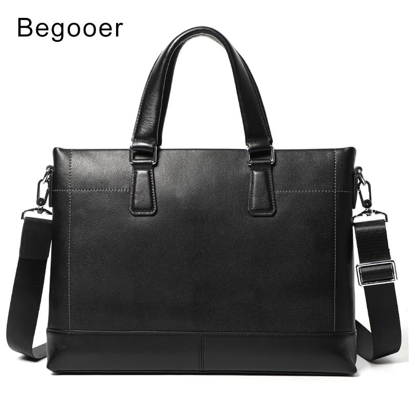 Business Men Briefcase Bag Genuine Leather Laptop Bag High Quality Real Leather Casual Man Bag Shoulder Bags Men Handbag Office