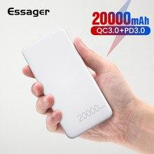Essager 20000 mAh chargeur rapide 3.0 USB C PD rapide 20000 mAh Powerbank pour Xiaomi chargeur Portable batterie externe