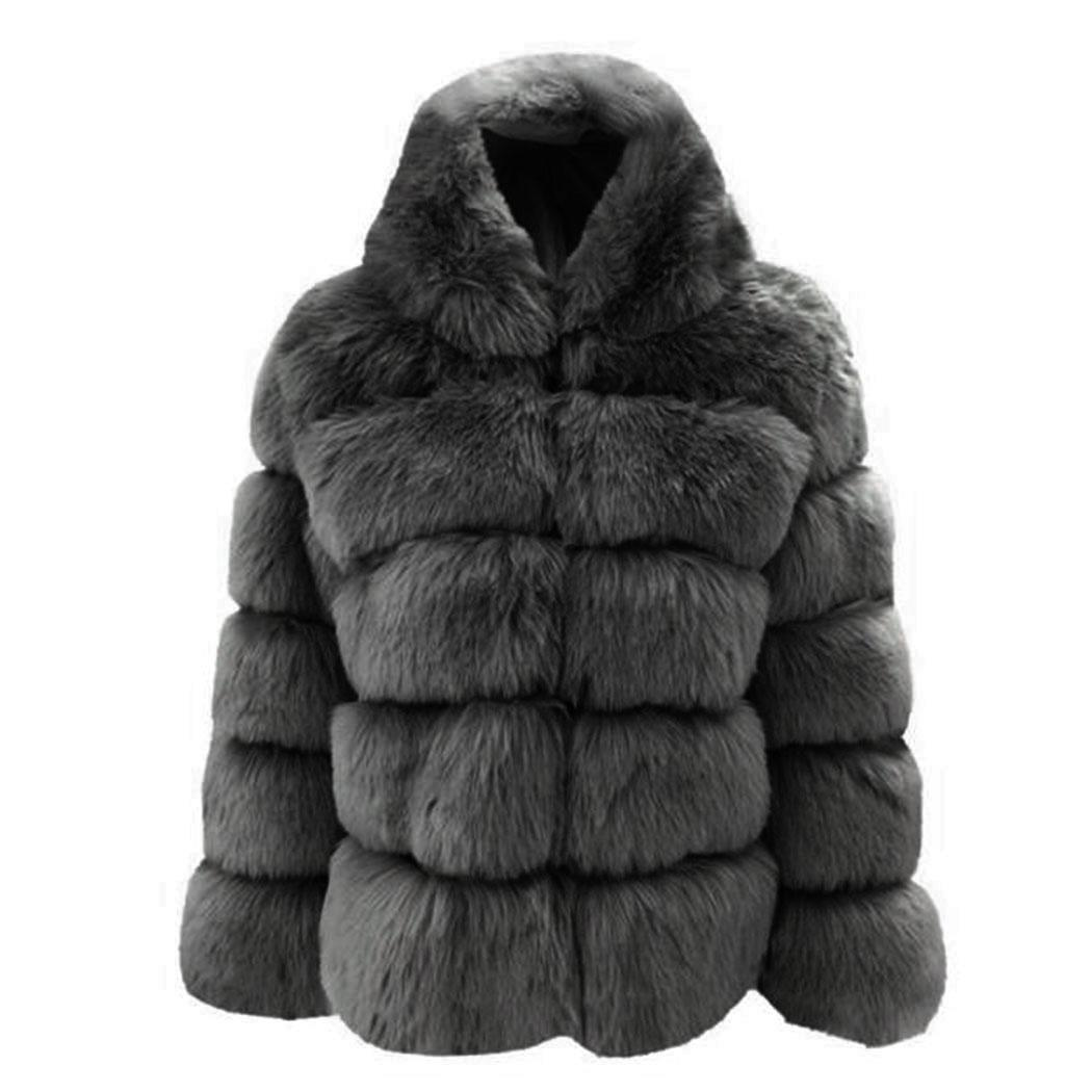 New Fashion Women Casual Thicken Winter Solid Warm None Faux Regular Rabbit Regular Fit, Fur Coat Outwear