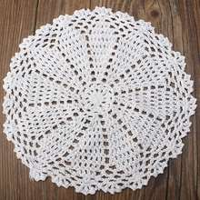 Handmade cotton round placemat cup coasters mug kitchen wedding table place mat cloth lace Crochet tea coffee doily dish pan pad(China)