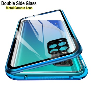 Magnetic Glass Case For Xiaomi MI 10 Lite Metal Camera Lens Protective Double Side Tempered Glass Cover For Redmi Note 9 Pro 10X