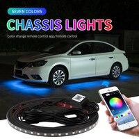 Auto Underglow Neon Licht Streifen Remote /APP RGB Wasserdichte LED Unterboden Umgebungs Lichter Hintergrundbeleuchtung Dekorative Atmosphäre Lampe 12V