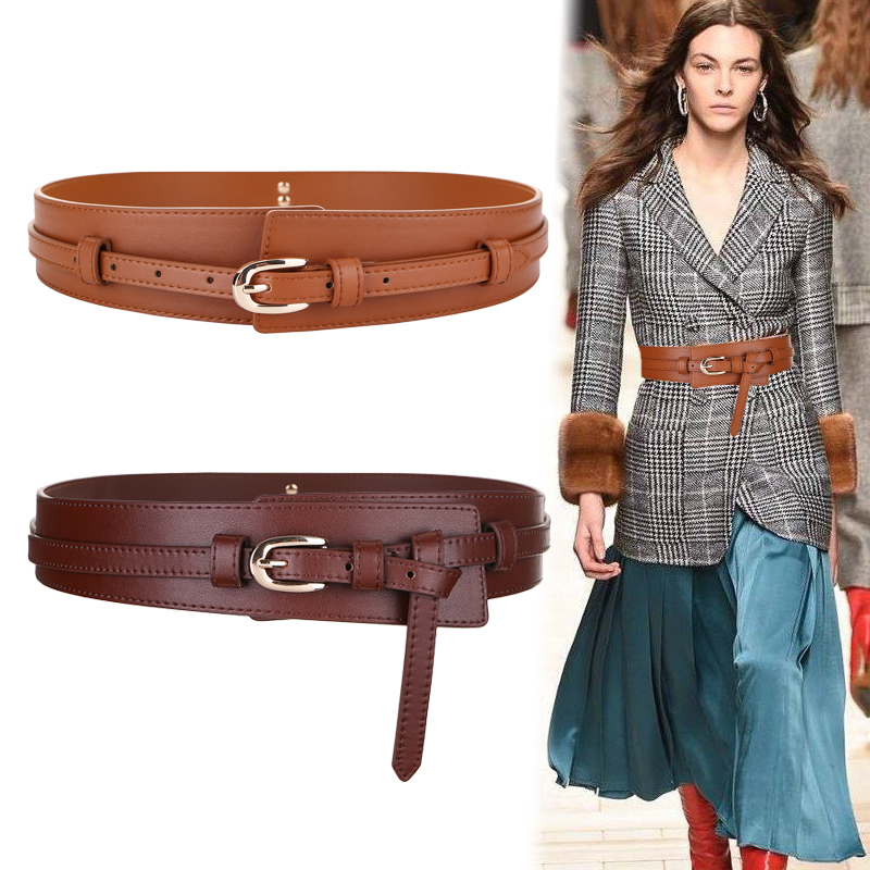 Fashion Wide Cowskin Cummerbund Women's Cummerbunds Knot Real Leather Waistbands For Dress Decorate Waist Belt Coat Accessories