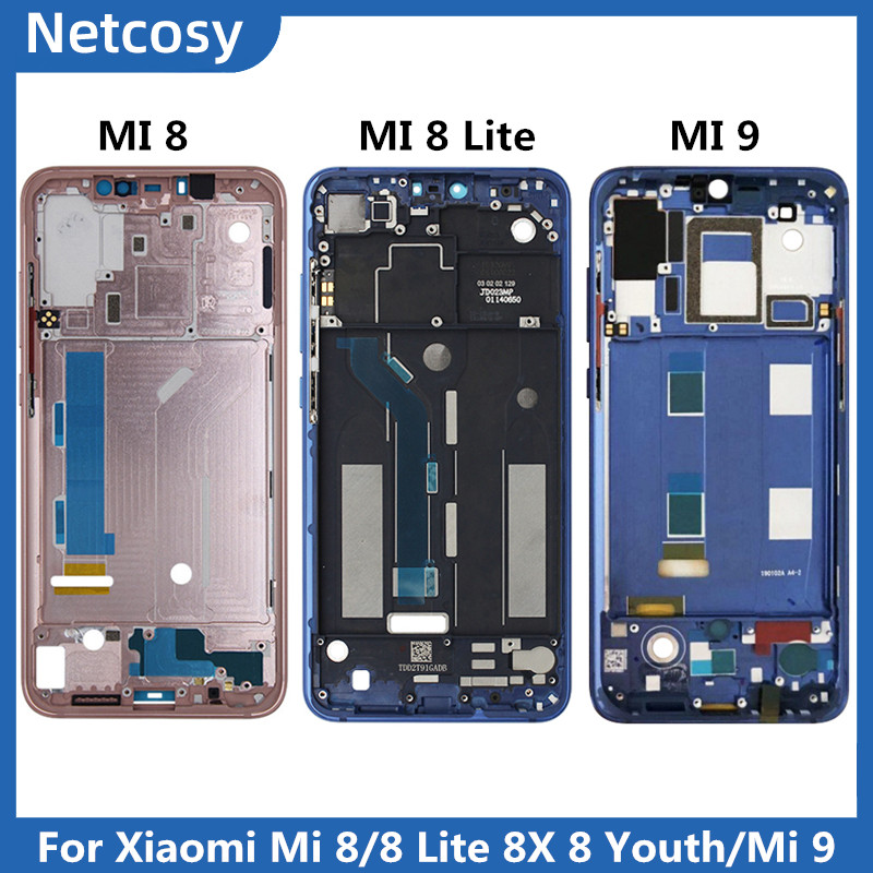 For Xiami Mi 8 Mi8 Housing Middle Frame Bezel Plate Cover Repair For Xiaomi Mi8 Lite 8X Cover For Xiaomi Mi 9 Mid Faceplate
