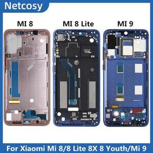 Image 1 - Pour Xiami Mi 8 Mi8 boîtier cadre moyen lunette plaque couverture réparation pour Xiaomi Mi8 Lite 8X couverture pour Xiaomi Mi 9 Mi plaque frontale